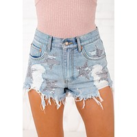 Twinkle Twinkle Little Star Distressed Shorts (Light Wash)