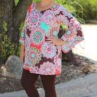 Pink Flower Power Tunic Top ~ Sizes 12-18