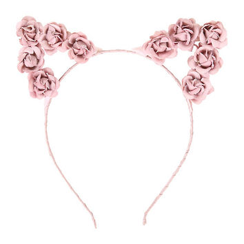 LOVEsick Pink Rose Cat Ears Headband