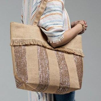 Woven Jute Stripe Metallic Tote Bag summer shoulder bag