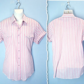 Vintage Western Shirt / Pearl Snap Pink Striped by SnapVintage