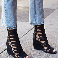Jeffrey Campbell Womens Fooled You Lace Up Wedge