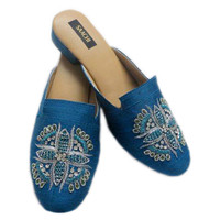 Silk Embroidered Flower, Royal/Silver, Slippers