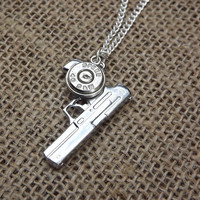 40 cal gun necklace- Bullet Jewelry- bullet necklace for gun enthusiasts - pistol necklace, bullet pendant charm, country redneck style