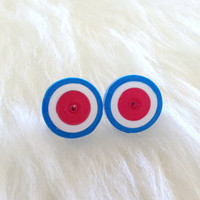 4th of July Paper Stud Earrings - Handmade, Quilled, Red, White, Blue, Fourth, Celebration, Round, Paper, America, Unique,Summer, Party, Fun