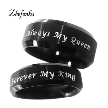 Black Couple Rings Always Your Queen Ring For Lovers Stainless Steel Forever My King Ring Lovers Anillo