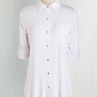 ModCloth Mid-length 3 Keep it Casual-Cool Top in White