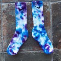 Confetti Nike Tie Dye Socks , Blue , Purple, Athletic wear, back to school , stocking stuffer SALE