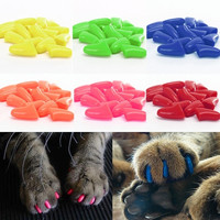 Yafex Novelty 20pcs Colorful Soft Silicon Control Pet Cat Nail Claw Paws Fit Caps Glue = 1929902596