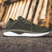 PUMA TSUGI NETFIT EVOKNIT Fashion Women Men Net Sneakers Breathable Shoes Army green B-CSXY