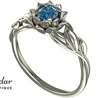 Flower Engagement Ring,Unique Engagement Ring,diamond Engagement Ring,Leaves,Blue Diamond Engagement Ring,floral,swirl,White gold Ring
