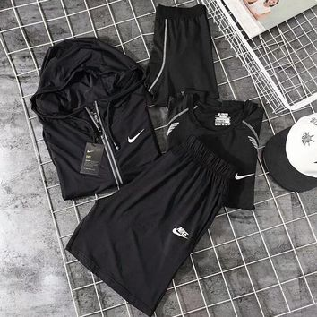 NIKE workout suit men's suit four-piece quick-drying tights running suit F-CY-MN