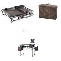 Small Portable Complete Camp Camping Kitchen Sink Table Supplies w Carrying Case