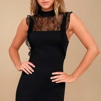 Free People Beaumont Muse Black Lace Bodycon Dress