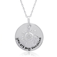 Sterling Silver and Diamond You Are My Sunshine Pendant-Necklace