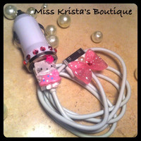 Hello Kitty Iphone 4 IPod Case USB Car Charger Power Adapter Kitty Cat Bow Charger