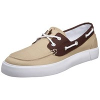 Polo Ralph Lauren Men's Lander Boat Shoe, Khaki/Dark Brown, 12 D