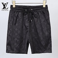 LV Louis Vuitton Fashion Men Women Casual Print Sport Running Beach Shorts Black