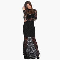 Black Long Sleeve Lace Maxi Dress with Fishtail Skirt