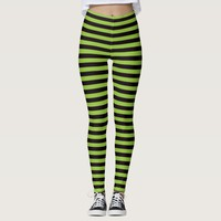 Witch leggings with green and black stripes