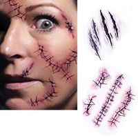 HOT!! 50PCS/ Lot Halloween Zombie Scars Tattoos With Fake Scab Blood Special Fx Costume Makeup