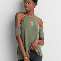 AEO Soft & Sexy Cold Shoulder T-Shirt , Olive