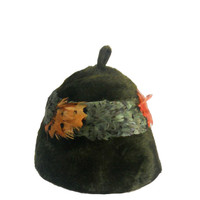 Vintage Hat Fur and Band of Feathers Jan Leslie - Made in Italy Stamp - Bucket Style - Dark Green/Brown Fur with Green and Orange Feathers