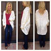 Monarch Dolman Sleeve Cocoon Cardigan - IVORY