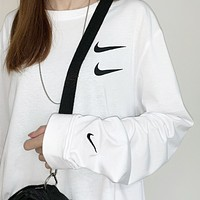 NIKE New fashion letter hook print couple long sleeve top sweater White
