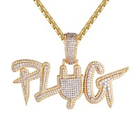Mens Plug Switch 3D Two Tone Gold Finish Designer Icy Pendant