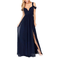 New Brand Chiffon Sexy Long Dress Sleeveless Elegant Women Prom Gown Bodycon Maxi Dress Vestidos Plus Size S-XXL