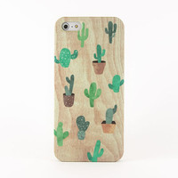 Cactus iPhone case, iPhone 5s case, iPhone 5 case, iPhone 4s case, iPhone 4 case - Green watercolor cactus plants on wood print