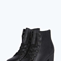 Lucy Lace Up Block Heel Boot