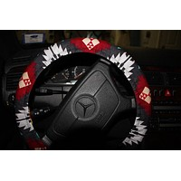 Gray Aztec Wheel Cover. Steering Wheel Cover .Car Accessories . Women's Wheel cover .
