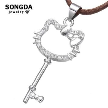 SONGDA Cute Creative Cubic Zirconia Crystal Cat Key Pendant Necklace Leather Rope Hello Kitty  Baby Girls Cartoon Kids Jewelry