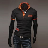 Men Short Sleeve Embroidery Tops [9883851907]