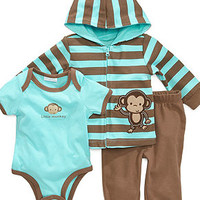 First Impressions Baby Set, Baby Boys Monkey Bodysuit, Hoodie and Pants - Kids Baby Boy (0-24 months) - Macy's