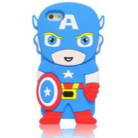 Oneshow the Avengers Series 3D Blue Cool Captain America Silicone Case Cover Design Compatible for Apple Iphone 5 5G 5S