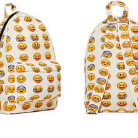Fun Emoji Print Backpack