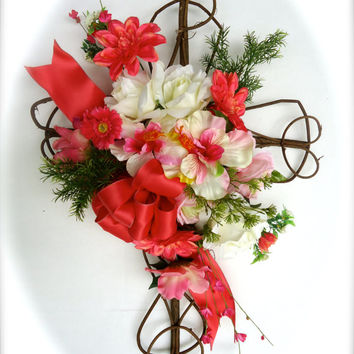 """Cemetery Floral Memorial Grapevine Cross - """"Sentiments of Summer,Cemetery Flowers in Coral with Hibiscus ,Graveside Flowers, Funeral Flowers"""