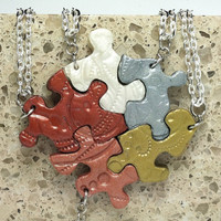 Puzzle Pieces Necklace Set of 5 Multi Color Metallics Best Friend Pendants Polymer Clay