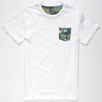 Blue Crown Beach Floral Mens Pocket Tee White  In Sizes
