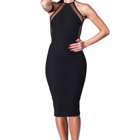 Black Halter Backless Bodycon Dress