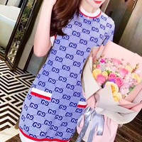 GUCCI New fashion more letter print dress women Blue