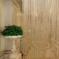 Tassel Glitter Curtains String Champagne for Living Room