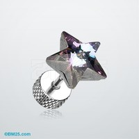 Sparkle Star Gem Fake Plug Earring