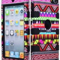 Bastex Hybrid Case for Apple iPod Touch 5, 5th Generation - Black Silicone / Aztec Tribal Hard