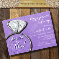 She Said Yes Engagement Party Invitation,Diamond ring Engagement Party invite,Announcement Chalkboard invitations, Couples Shower Unique