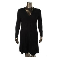 Calvin Klein Womens Ribbed Knit Surplice Sweaterdress