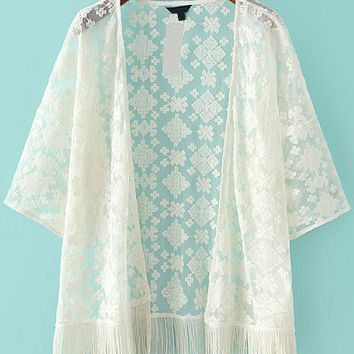White Embroidered Sheer Mesh Tassel Kimono